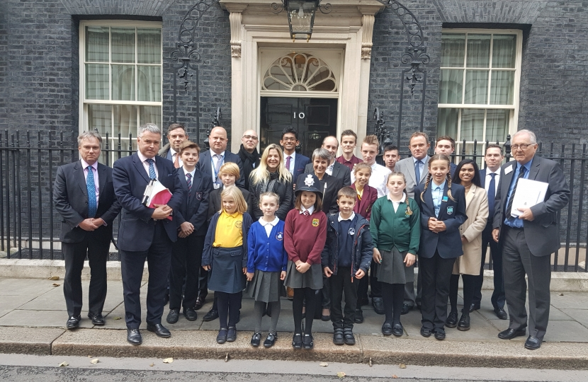 Jeremy Quin with local school children and fellow West Sussex MP's
