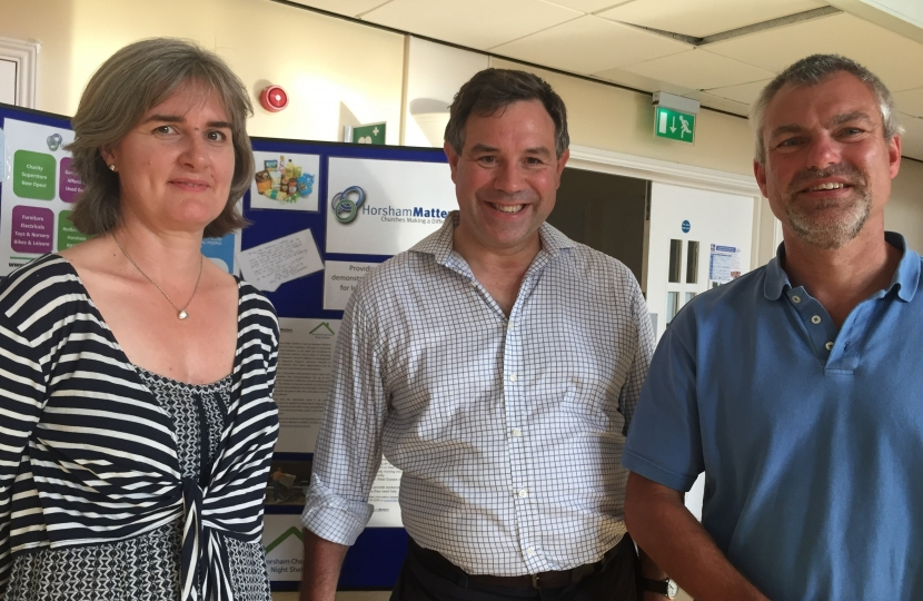Meeting David Sheldon and Ruth Hodgson of Horsham Matters earlier this year to discuss the varied local work the charity undertakes.