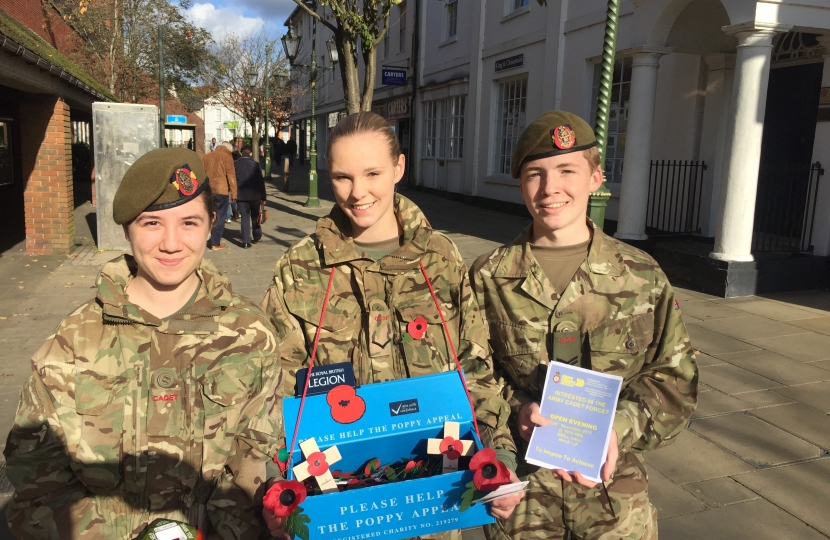 Members of the Horsham detachment, Army Cadet Force collecting in Carfax for the Poppy Day Appeal.