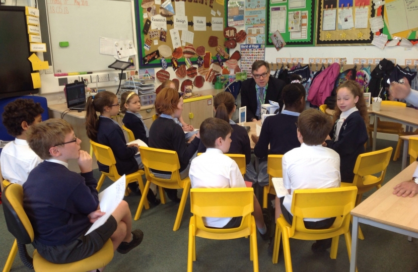 "A question and answer session at the ""News Club"" in Arunside School which has recently had a very positive ""Good"" Ofsted inspection."