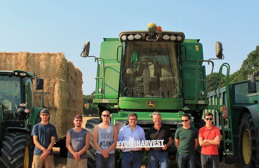 Jeremy Quin joining the Harvest Team at Weston's Farm, Itchingfield