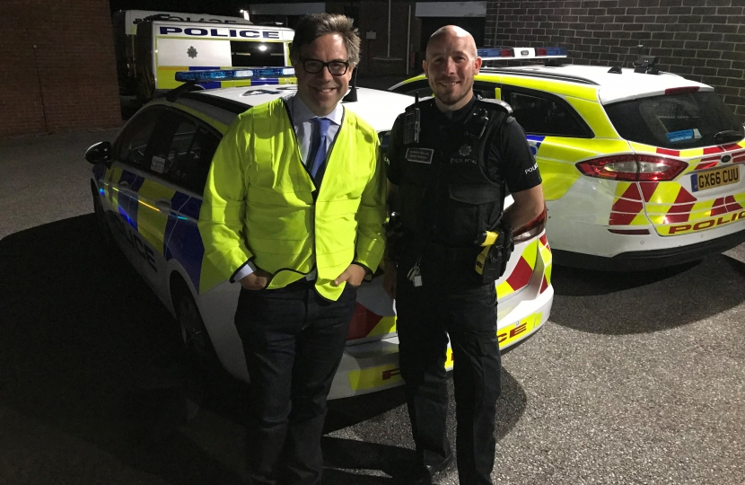 At Horsham police station last week with an officer from the response teams covering the district.