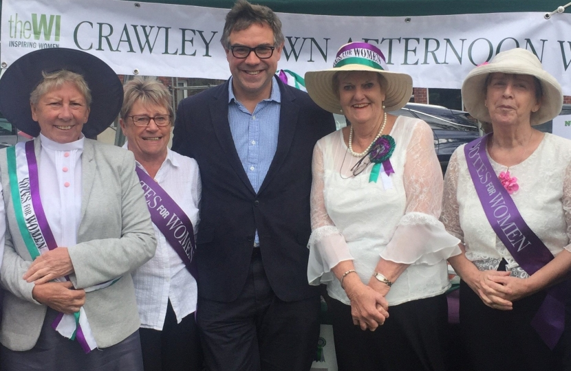 "Crawley Down WI joined in the ""Superheroes"" theme of the village fayre with their own tribute to the Suffragettes, 100 years on from women first winning the vote."