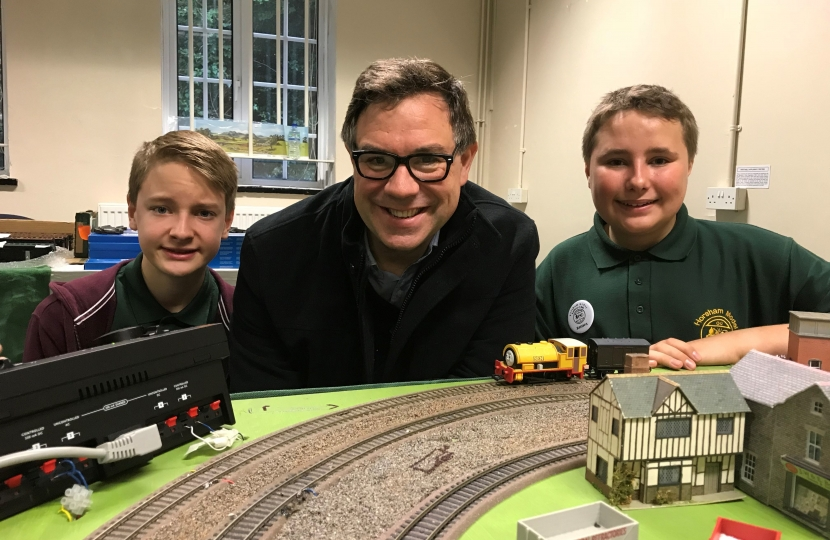 With young members of the Horsham Model Railway club at their 10th birthday celebration in the Drill Hall.