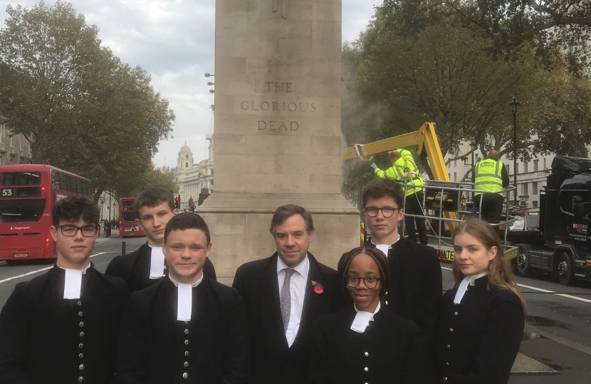 With Christ's Hospital students on Monday at the Cenotaph which was being spruced up for Remembrance Sunday, in which the school's band will be taking a prominent role in the March Past.
