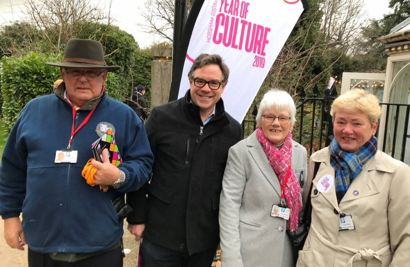 Attending the Horsham District Year of Culture launch at Horsham Park on Saturday with the Chairman of HDC, Peter Burgess, Cllr Toni Bradnum and Cllr Karen Burgess.