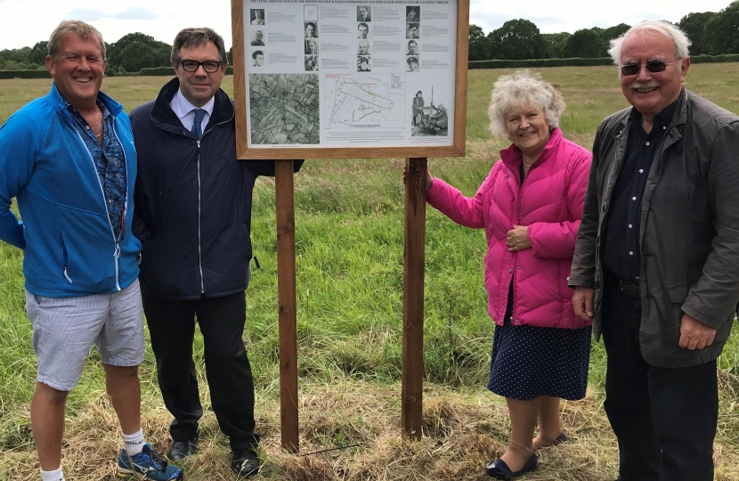 Jeremy Quin with Gordon Lindsay and Kate Rowbottom of Horsham District Council and Richard Harries of Shipley Men's Shed at the unveiling of the new plaque commemorating the role of Coolham Airfield.