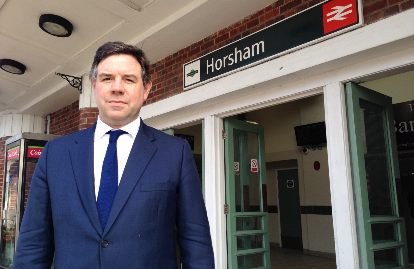 Jeremy Quin at Horsham Railway Station