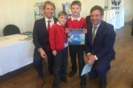 "Celebrating with Adam Cort and Toby Capel of William Penn School.  Adam won a WWF national competition to produce a poster of ""The Earth We Want"".  He was presented with a cheque for £500 for his school by triple Olympic medalist Andrew Triggs Hodge in Parliament this week."